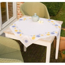 Tablecloth: Blue and Yellow Flowers