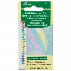 Marbled Glass Head Pins: Pack of 20