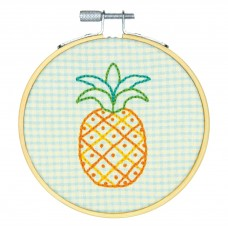 Embroidery Kit with Hoop: Crewel: Pineapple Pattern