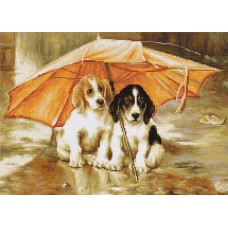 Dogs Under an Umbrella (25ct petit point kit)