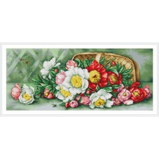 Overturned Basket With Peonies
