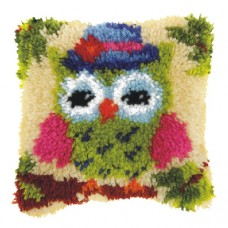 Latch Hook Cushion Kit: Small: Green Owl