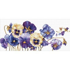 No Count Cross Stitch - Purple Pansies