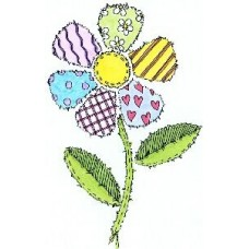 Patchwork Daisy- Wood Mounted Stamp