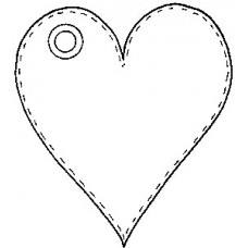 Stitched Heart Tag - Wood Mounted Stamp