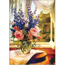 No Count Cross Stitch - Floral Vase by the Window