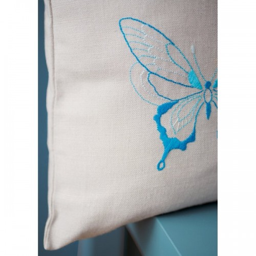 Embroidery Cushion Blue Butterflies