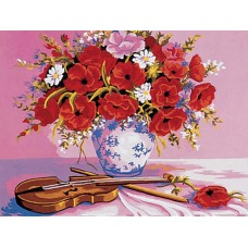 Violin and Poppies