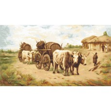 Cart with Oxen Petit Point Kit