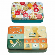 Sewing Themed Tin: Set of 2: Colourful